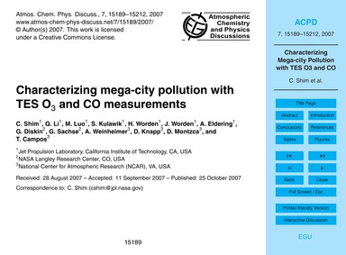 Characterizing Mega-city Pollution with ... by Shim, C.