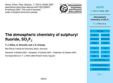 The Atmospheric Chemistry of Sulphuryl F... by Dillon, T. J.