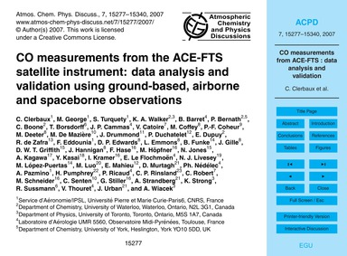 Co Measurements from the Ace-fts Satelli... by Clerbaux, C.