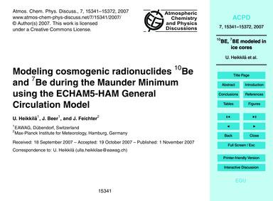 Modeling Cosmogenic Radionuclides 10Be a... by Heikkilä, U.