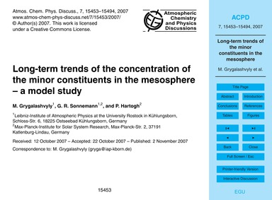 Long-term Trends of the Concentration of... by Grygalashvyly, M.