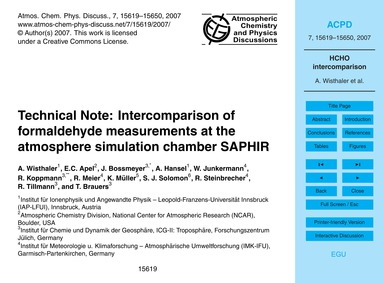 Technical Note: Intercomparison of Forma... by Wisthaler, A.