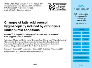 Changes of Fatty Acid Aerosol Hygroscopi... by Vesna, O.