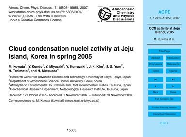 Cloud Condensation Nuclei Activity at Je... by Kuwata, M.