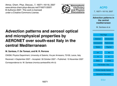 Advection Patterns and Aerosol Optical a... by Santese, M.