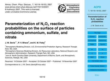 Parameterization of N2O5 Reaction Probab... by Davis, J. M.