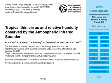 Tropical Thin Cirrus and Relative Humidi... by Kahn, B. H.