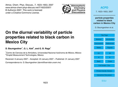 On the Diurnal Variability of Particle P... by Baumgardner, D.