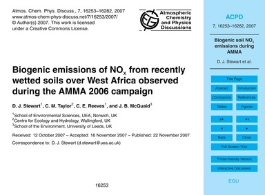 Biogenic Emissions of NoX from Recently ... by Stewart, D. J.