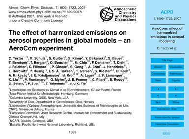 The Effect of Harmonized Emissions on Ae... by Textor, C.