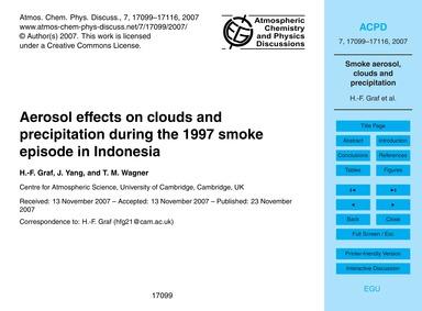 Aerosol Effects on Clouds and Precipitat... by Graf, H.-f.