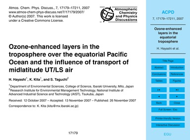 Ozone-enhanced Layers in the Troposphere... by Hayashi, H.