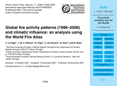 Global Fire Activity Patterns (1996–2006... by Le Page, Y.