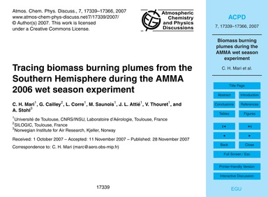 Tracing Biomass Burning Plumes from the ... by Mari, C. H.