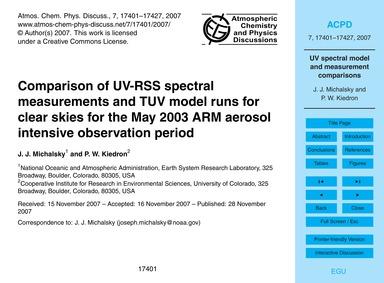 Comparison of Uv-rss Spectral Measuremen... by Michalsky, J. J.