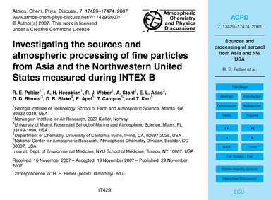 Investigating the Sources and Atmospheri... by Peltier, R. E.