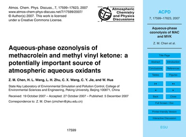 Aqueous-phase Ozonolysis of Methacrolein... by Chen, Z. M.