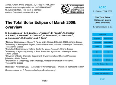 The Total Solar Eclipse of March 2006: O... by Gerasopoulos, E.