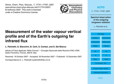 Measurement of the Water Vapour Vertical... by Palchetti, L.
