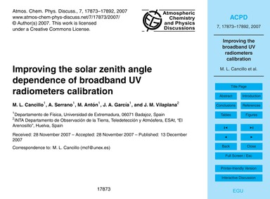 Improving the Solar Zenith Angle Depende... by Cancillo, M. L.