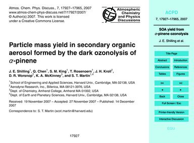 Particle Mass Yield in Secondary Organic... by Shilling, J. E.