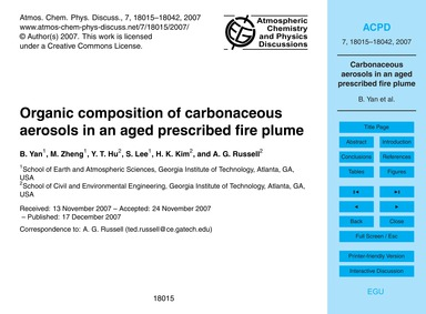 Organic Composition of Carbonaceous Aero... by Yan, B.
