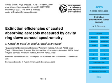 Extinction Efficiencies of Coated Absorb... by Riziq, A. A.