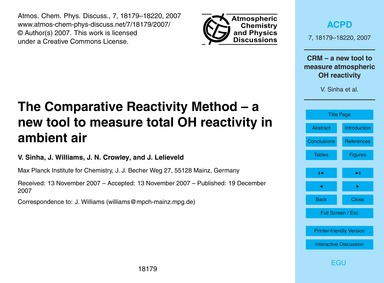 The Comparative Reactivity Method – a Ne... by Sinha, V.