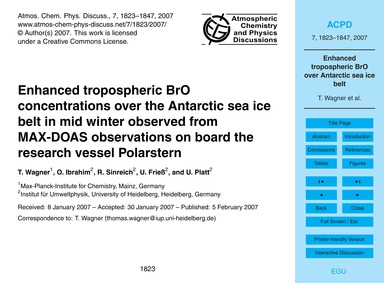 Enhanced Tropospheric Bro Concentrations... by Wagner, T.