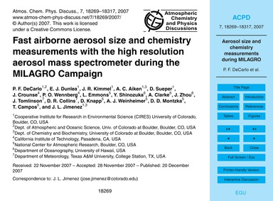Fast Airborne Aerosol Size and Chemistry... by Decarlo, P. F.