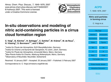 In-situ Observations and Modeling of Nit... by Voigt, C.
