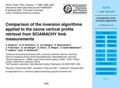 Comparison of the Inversion Algorithms A... by Rozanov, A.