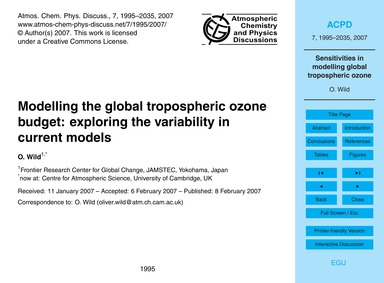 Modelling the Global Tropospheric Ozone ... by Wild, O.