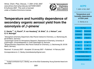 Temperature and Humidity Dependence of S... by Sten, C.
