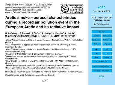 Arctic Smoke – Aerosol Characteristics D... by Treffeisen, R.