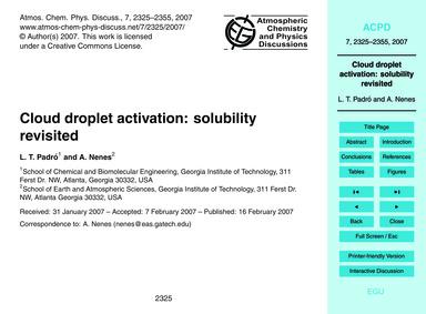 Cloud Droplet Activation: Solubility Rev... by Padró, L. T.