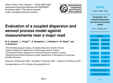 Evaluation of a Coupled Dispersion and A... by Pohjola, M. A.