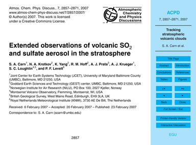 Extended Observations of Volcanic So2 an... by Carn, S. A.
