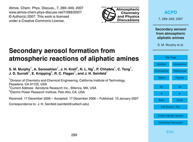 Secondary Aerosol Formation from Atmosph... by Murphy, S. M.