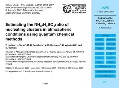 Estimating the NH3:H2So4Ratio of Nucleat... by Kurtén, T.