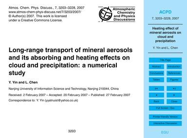 Long-range Transport of Mineral Aerosols... by Yin, Y.