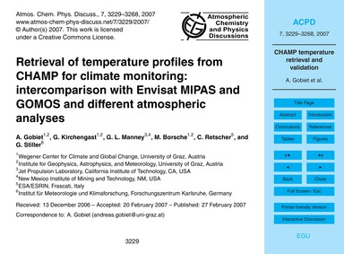 Retrieval of Temperature Profiles from C... by Gobiet, A.