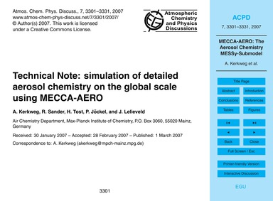 Technical Note: Simulation of Detailed A... by Kerkweg, A.