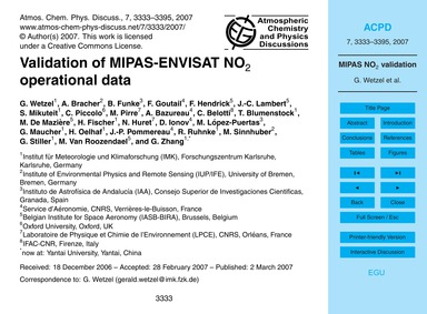 Validation of Mipas-envisat No2 Operatio... by Wetzel, G.