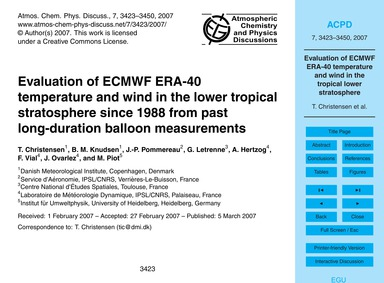 Evaluation of Ecmwf Era-40 Temperature a... by Christensen, T.