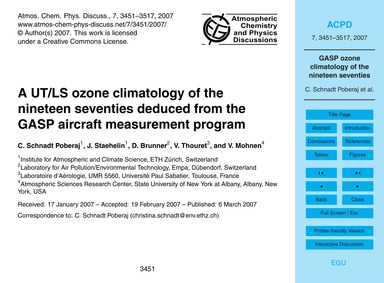 A Ut/Ls Ozone Climatology of the Ninetee... by Schnadt Poberaj, C.