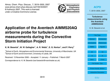 Application of the Aventech Aimms20Aq Ai... by Beswick, K. M.