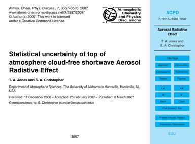Statistical Uncertainty of Top of Atmosp... by Jones, T. A.