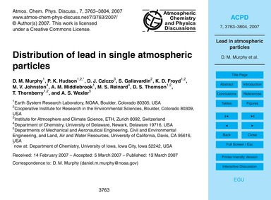 Distribution of Lead in Single Atmospher... by Murphy, D. M.