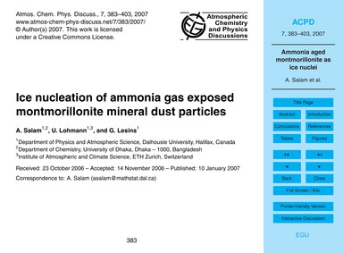 Ice Nucleation of Ammonia Gas Exposed Mo... by Salam, A.